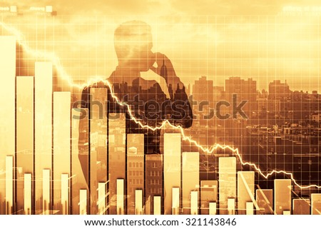 Double exposure of crisis illustration with business graph and man talking by phone - stock photo