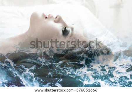 Double exposure of girl profile portrait and sea foam texture - stock photo