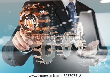 double exposure of hand showing Internet of things (IoT) word diagram as concept