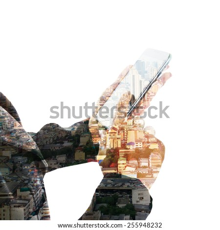 Double exposure of hand touch screen on Smartphone - stock photo