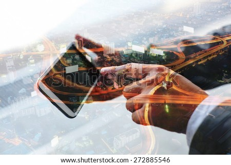 Double exposure of hand touch screen on smartphone. - stock photo