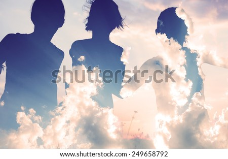 Double exposure of happy kids playing on hot summertime - stock photo