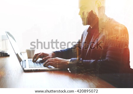 Double exposure of man trader dressed in corporate suit is analyzing financial market via laptop computer. Skilled businessman keyboarding e-mail letter while using net-book. High technology concept  - stock photo