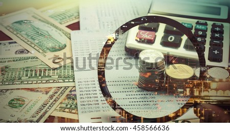 Double exposure of night light in city and rows of coins on banknote ,concept finance and banking