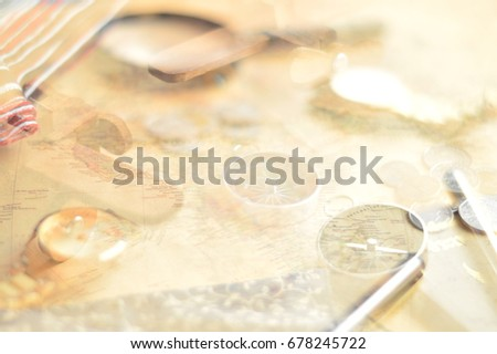 Double exposure old world map background stock photo 678245722 double exposure of old world map background with compass pen and wrist watch for gumiabroncs Choice Image