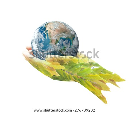 Double exposure of planet in human hands and beautiful leaves, isolated on white background. environment concept. Elements of this image furnished by NASA. - stock photo