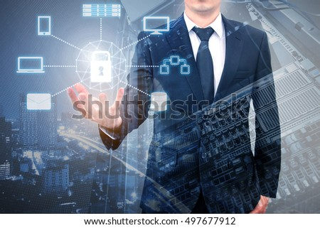 Double exposure of professional businessman connecting and protection cloud technology on hand with cloud and sky in Technology, Communication and business concept