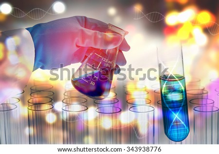 Double exposure of scientist hand holding laboratory flask - stock photo