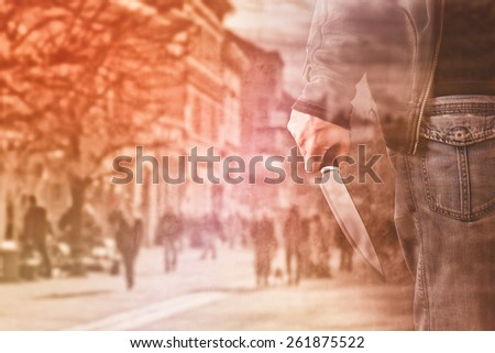 Double Exposure of Serial Killer Concept, Man with large sharp knife ready to commit a homicide. - stock photo