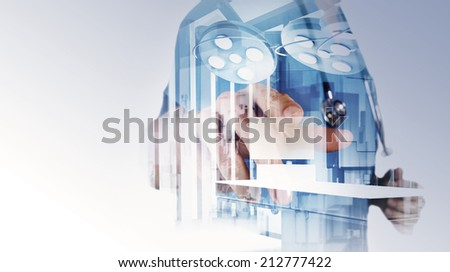 Double exposure of smart medical doctor working with abstract city as concept - stock photo