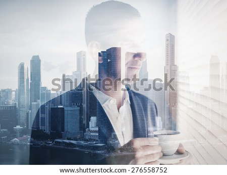 double exposure of young businessman  - stock photo