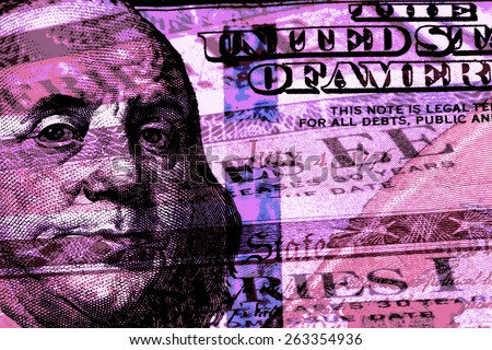 Double exposure one hundred dollar bill and US treasury savings bond - Finance and government concept - stock photo