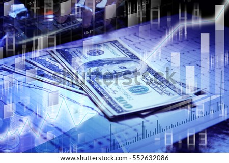 Double exposure photo, Dollar Money blur background and graph, Investment manager working new private banking project office, Financial and business concept
