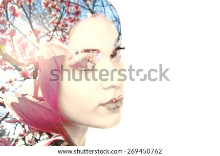 Double exposure photo of a young woman and Magnolia flowers with copy space on the right - stock photo