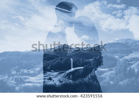 double exposure photo of affectionate couple, family concept, man and woman relationships - stock photo