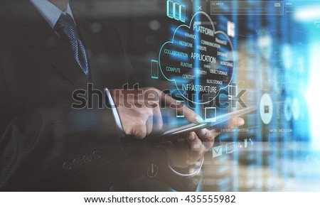 double exposure photo of businessman hand using tablet computer and server room background - stock photo