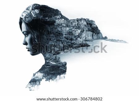 Double exposure portrait of a woman and view of Manarola. La Spezia, Liguria, northern Italy. Black and white image - stock photo
