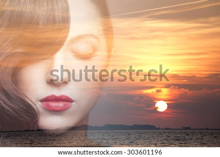 Double exposure portrait of beauty young woman dreaming. - stock photo