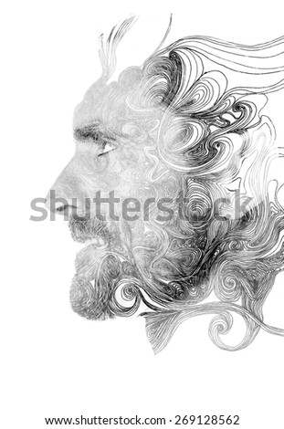 Double exposure portrait of confident man combined with hand drawn pattern - stock photo