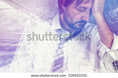 Double exposure portrait of tired exhausted businessman in trouble, problems in career - stock photo