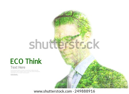 Double exposure portrait of young Business man with green forest isolated on white  - stock photo