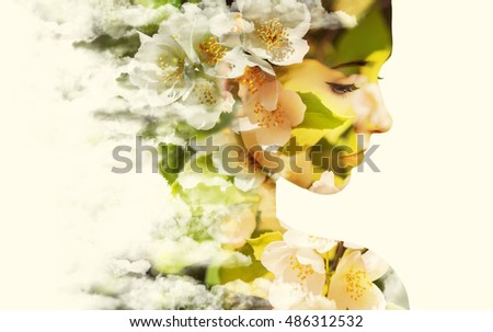 Double exposure portrait of young woman and blooming branch of the jasmine.