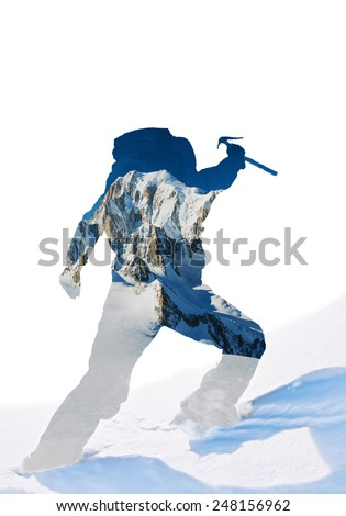 Double exposure: silhouette of a mountaineer celebrating the conquest of the summit, mixed with a mountain landscape. (Mont Blanc, Chamonix, France) - stock photo
