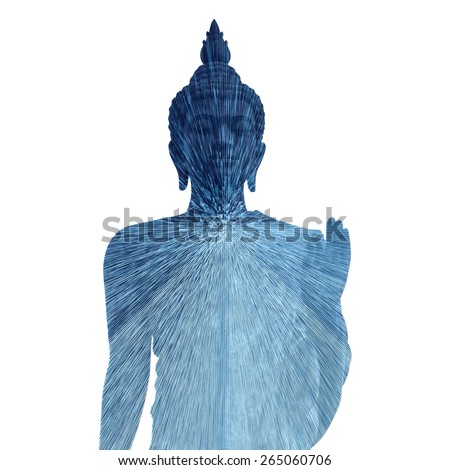 Double exposure straight lines abstract of Buddha  - stock photo