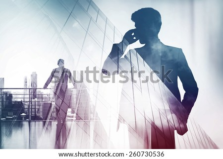 Double exposure with businessman silhouette - stock photo