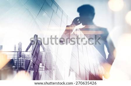 Double exposure with businessman silhouette. With special lighting effects - stock photo