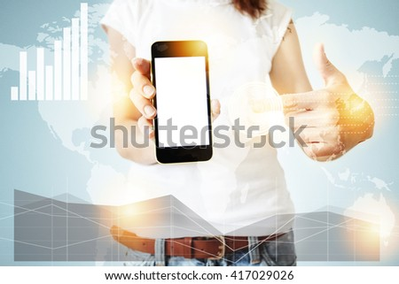 Double exposure, worldwide connection interfaces, visual effects. Female office worker enjoying free wi-fi, using electronic device, pointing at blank copy space screen for your promotional content  - stock photo