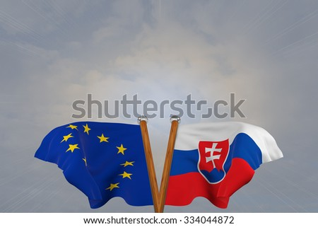 Double flags European Union and Slovakia , joined on v-shaped wooden pole
