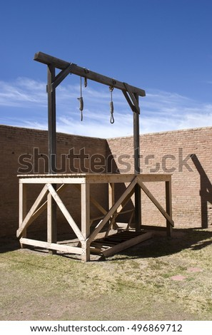 Double Gallows in a Courtyard - path included