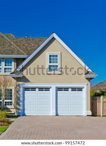 Double garage doors - stock photo
