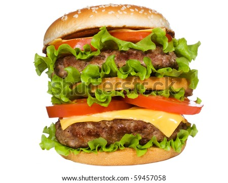 double hamburger with vegetables on white background