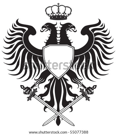 Double-headed eagle with crown and swords. Original eagle crest. JPEG version. - stock photo