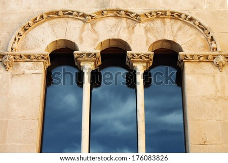Double lancet window in a medieval palace of Ibiza Town, Spain - stock photo