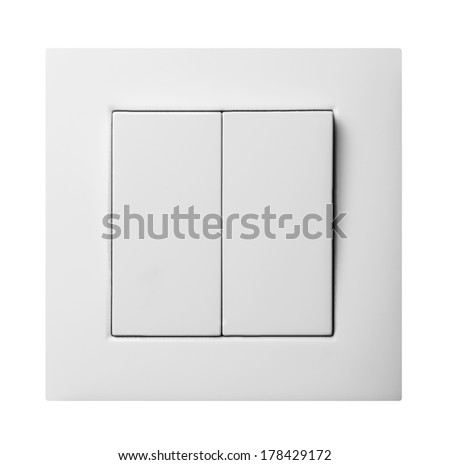 double light switch isolated on white background - stock photo