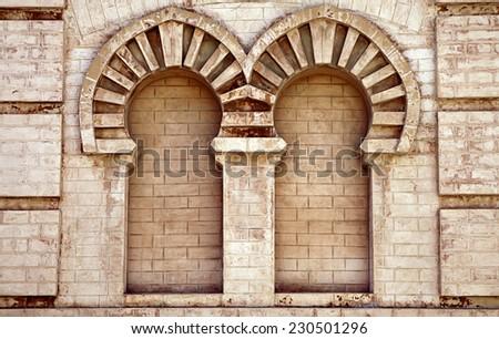 Double niche in old house in Cadiz (Gran teatro falla) - stock photo