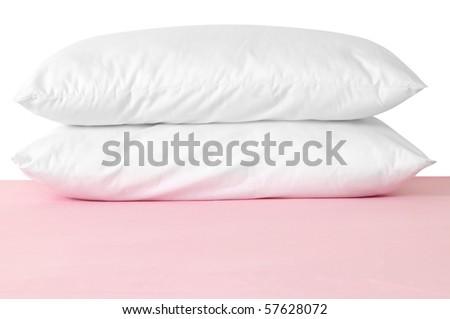 Double pillows. Isolated - stock photo