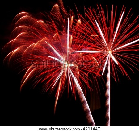 Double Red fireworks,Niagara Falls,New York - stock photo