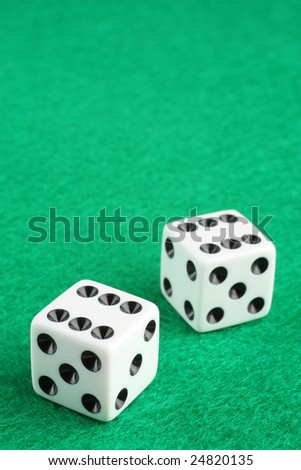 Double six dice macro closeup with copy space - stock photo