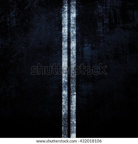 Double solid stripe on the black asphalt road. Rustic texture. Dark night background. - stock photo