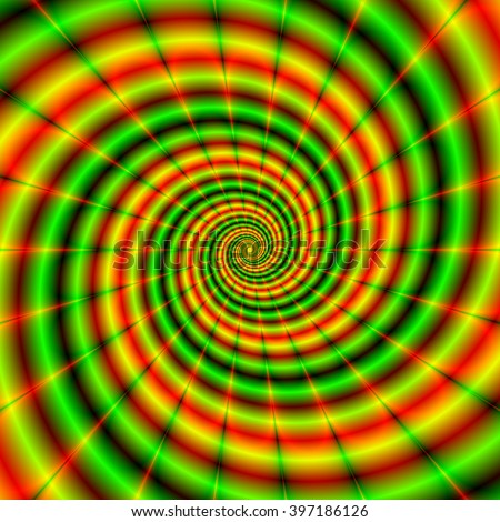 Double Spiral in Green and Orange / An abstract fractal image with a spiral design in green and orange, yellow and red.