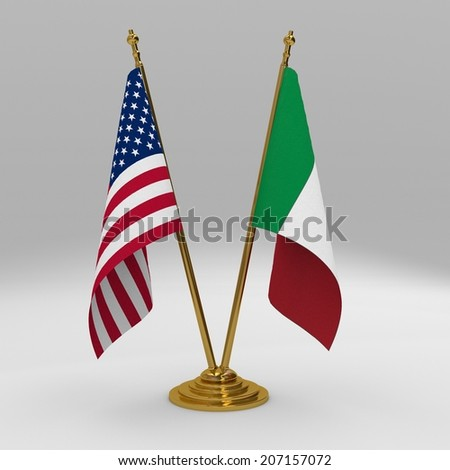 Double table flag, partnership united states of america and italy