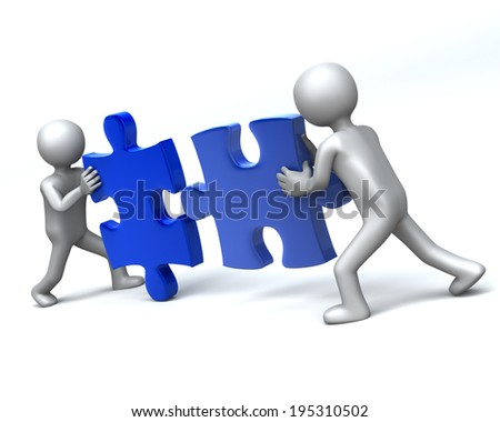 Double Team 2 Men completing 3D jigsaw Puzzle - stock photo