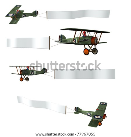 Double wing Airplane pulling a advertising banner. Isolated cutout on clean white background. Sky banner is ready for your text. Illustration with four different views of plane flying - stock photo