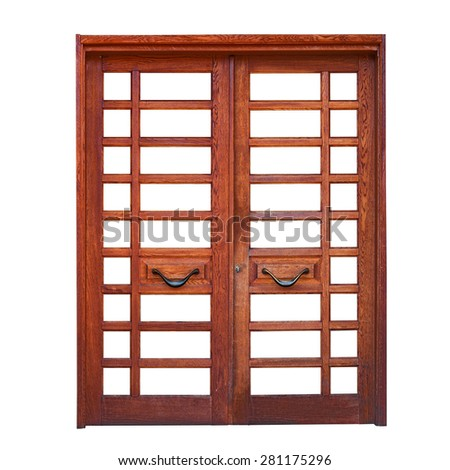 Double wooden door isolated on white background - stock photo