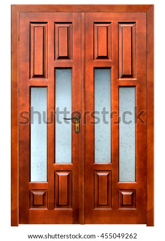 double wooden door on white background with pach