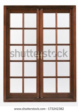 Double wooden doors - stock photo
